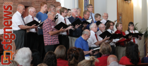 "A portion of the Cedar Area Interfaith Alliance choir performs ""The God Who Gave Us Life"" from ""The Testament of Freedom"" by Randall Thompson, patriotic concert at Christ the King Catholic Church, Cedar City, Utah, July 3, 2013 