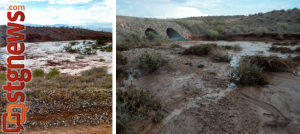 L-R: wash flash flooding at 6:30 p.m. and subsiding at 7:30 p.m. Arizona Strip, July 12, 2013 | Left photo by Jae Sun, right photo by Joyce Kuzmanic, St. George News