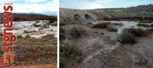 L-R: wash flash flooding at 6:30 p.m. and subsiding at 7:30 p.m. Arizona Strip, July 12, 2013 | Left photo by Jae Sun, right photo by Joyce Kuzmanic, St. George News