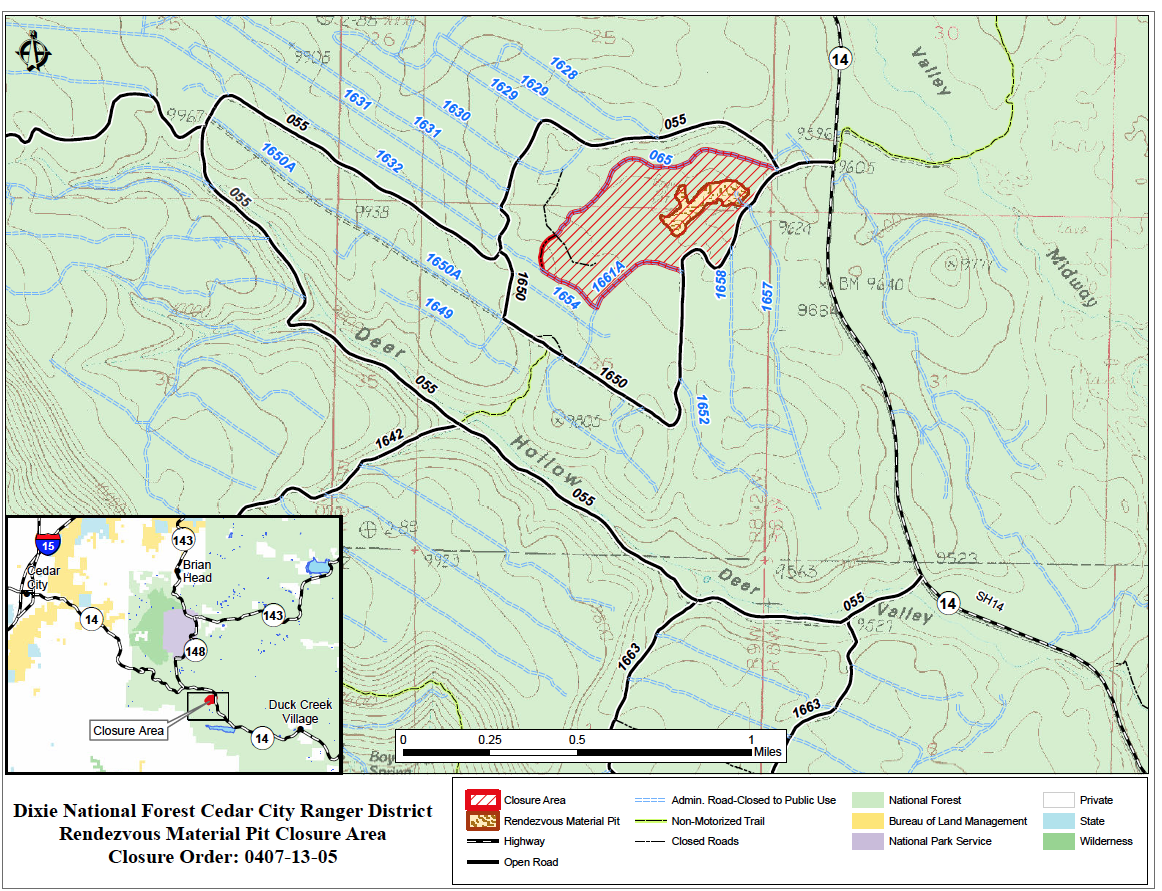 Area map relative to Rendezvous Mineral Material Pit closure order July 18-Sept. 30, 2013, Dixie National Forest, Iron County, Utah | Image courtesy of Dixie National Forest