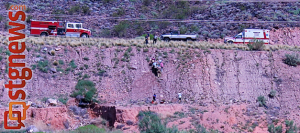 Vehicle went off Telegraph Road and over a cliff in Washington, Utah, July 28, 2013 | Photo by Travis Theobald, St. George News