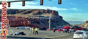 Life Flight on scene of multiple vehicle and motorcycle crash at Snow Canyon Parkway and Bluff Street, St. George, Utah, July 31, 2013 | Photo by Kristen Edwards, St. George News