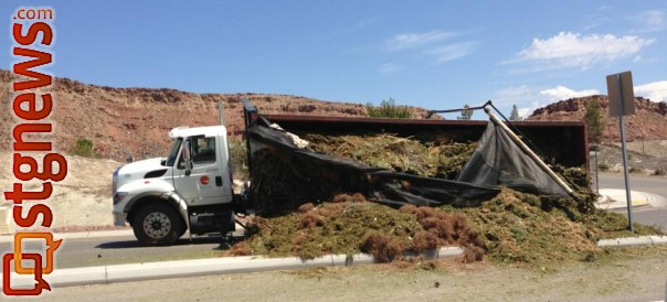 A truck blocks part of Brigham Road after the load of compost it was hauling spills across the roadway, St. George, Utah, July 26, 2013 | Photo by Kyle Little, St. George News
