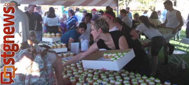 """Birthday cupcakes for the Dixie Regional Medical Center's """"CareCentennial"""" celebration, St. George Town Square, St. George, Utah, July 8, 2013 