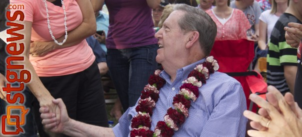 Elder Holland shakes many hands at the Luau thrown in his honor on July 23, 2013, Washington, Utah | Photo by Samantha Tommer, St. George News
