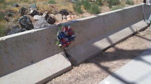 A wreath laid at the site of the March 4 crash that claimed the life of David Henson, St. George, Utah, July 25, 2013 | Photo by Mori Kessler, St. George News