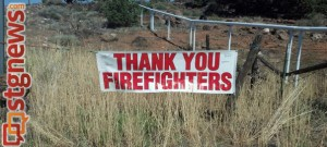 A banner thanking firefighters created by residents of Veyo and Brookside hangs along SR-18, Veyo, Utah, July 26, 2013 | Photo by Wanda Kubat-Nerdin for St. George News