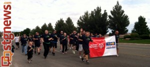 SGPD Officers Jeremy Needles and David Slack, local law enforcement and Special Olympics athletes participate in the 2013 Special Olympics Torch Run, St. George, Utah, May 9, 2013 | Photo courtesy of Janie Belliston