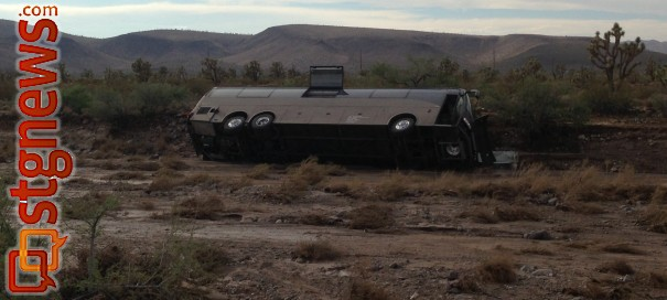 Tour bus attempted to cross a wash when it got swept away, Mohave County, Ariz., July 28, 2013 | Photo courtesy of the Mohave County Sheriff's Office