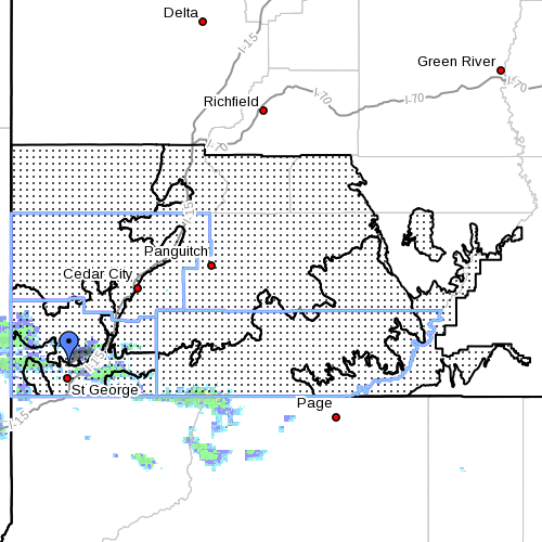 """Dots denote """"Flash Flood Watch"""" area. Radar time 8:15 a.m. Southern Utah, July 23, 2013 