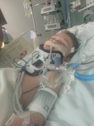 Boy recovering in the hospital after being caught in the car window, St. George, Utah, August 2013 | Photo courtesy of the St. George Police Department, St. George News