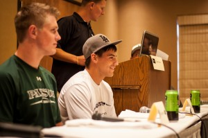 Payson players Derek Johnson (left) and Kyle Moffitt listen as MC Devin Dixon speaks during the 3AA Media Day event Friday afternoon, Washington, Utah, on August 9, 2013 | Photo by Rachel Guymon, St. George News