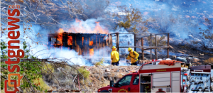 Chicken coop ablaze spreads to hillside in LaVerkin, Utah, Aug. 11, 2013   Photo by Jeremy Crawford, St. George News