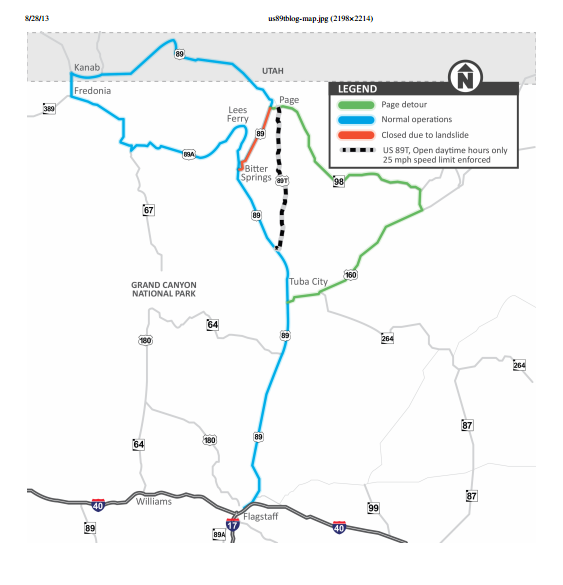 US T Opens Optional Detour To Page Lake Powell St George News - Us route 89 map