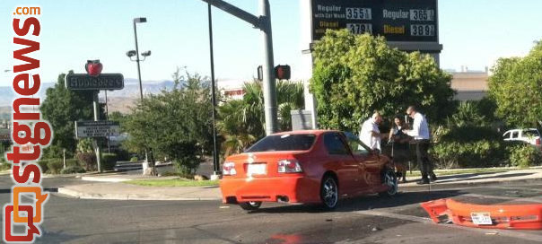 Accident at 100 South and River Road, St. George, Utah, Aug. 14, 2014   Photo by Jason Little, St. George News