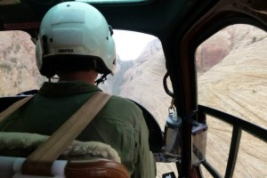 Inside the cockpit of the UDPS helicopter during the search for the missing hikers, Kane County, Utah, Aug. 26, 2013 | Photo courtesy of the Kane County Sheriff's Office