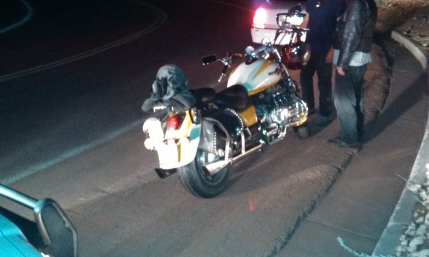 Honda Valkyrie involved in the motorcycle-auto collision at St. George Boulevard and Bluff Street, St. George, Utah, Aug. 30, 2013 | Photo by Mori Kessler, St. George News
