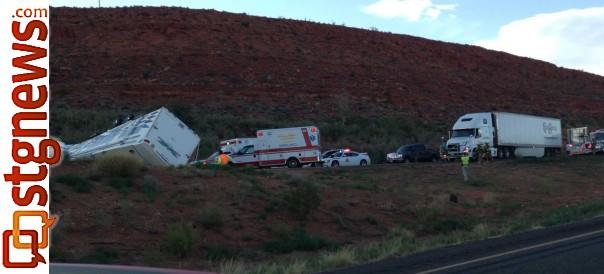 Truck and trailer overturn on southbound I-15 blocking blocking both lanes at mile post 14, Washington County, Utah, Aug. 3, 2013 | Photo courtesy of Kevin Lee Luthier