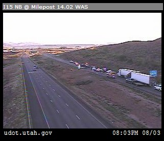 The scene of the accident as seen through one of UDOT's Commuterlink's cameras near milepost 14 on I-15, Washington County, Utah, Aug. 3, 2013   Photo courtesy of the Utah Department of Transportation