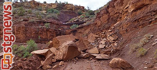 Rockslide, Rockville, Utah, Aug 26, 2013   Photo by Dan Mabbutt, St. George News