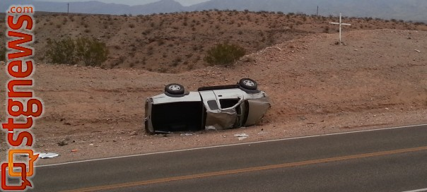 Rollover on Scenic Drive at mile post 3 near Littlefield, Ariz., Aug. 25, 2013 | Photo courtesy of the Mohave County Sheriff's Office