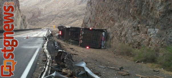 Semitrailer overturns after driver falls asleep, Mohave County, Ariz., Aug. 15, 2013 | Photo courtesy of the Arizona Highway Patrol