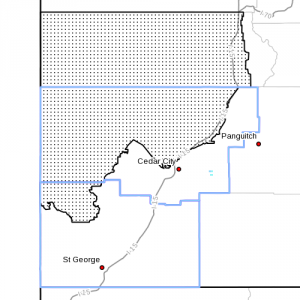Dots denote affected area in Washington County and Iron County, at radar time 3:30 a.m., Aug. 2, 2013   Image courtesy of the National Weather Service