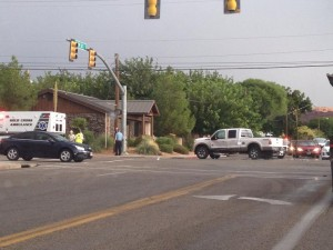 Accident between a SUV and pickup truck at the intersection of 700 South and Main Street, St. George, Utah, Sept. 3, 2013 | Photo by Sarafina Amodt, St. George News