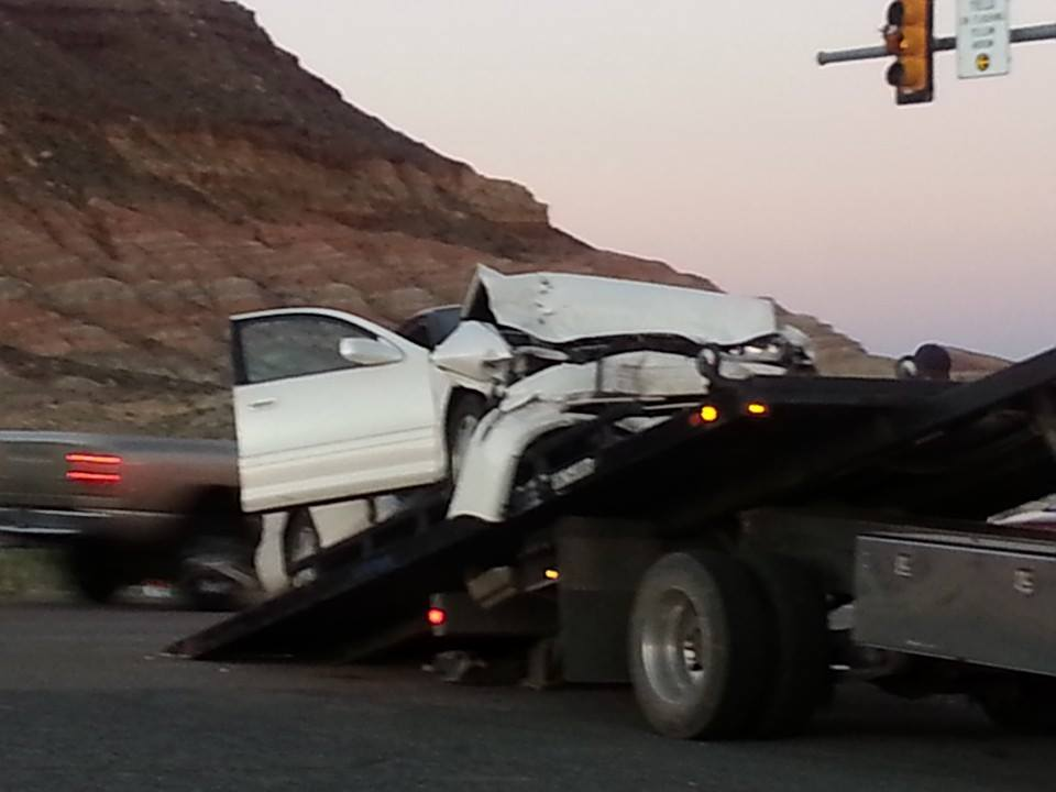 Accident at intersection of 5300 West on SR-9, Hurricane, Utah, Sept. 28, 2013 | Photo by and courtesy of Amy E. Hughes, St. George News