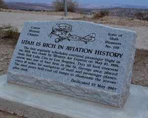 Memorial marker placed by the Sons of Utah Pioneers at beacon arrow on the Bloomington bluff in St. George. Arrows were constructed between 1926-1928 to facilitate aviation navigation from Salt Lake City to Los Angeles. St. George, Utah, Sept. 3, 2013 | Photo by John Teas, St. George News