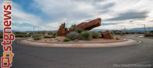 Roundabout at Center Street and 200 East, Ivins, Utah, Sept. 2, 2013 | Photo by Dave Amodt, St. George News