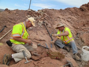 Nearly all of the excavation at the SPP plant locality was done using hand tools over several weeks. Fred Overkamp on left; Andrew Milner on right, St. George, Utah, spring 2013 | Photo by Linda Hoernke, courtesy of Andrew Milner, St. George News