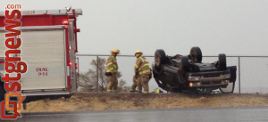 Rollover on state Route 18, St. George, Utah, Sept. 3, 2013 | Photo by Michael Flynn, St. George News