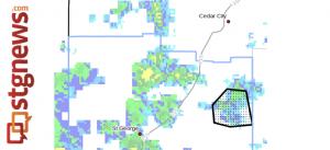 "Dots denote area subject to ""Flash Flood Warning,"" Washington County, Utah, radar time 6:15 a.m., Sept. 11, 2013 | Image courtesy of National Weather Service"