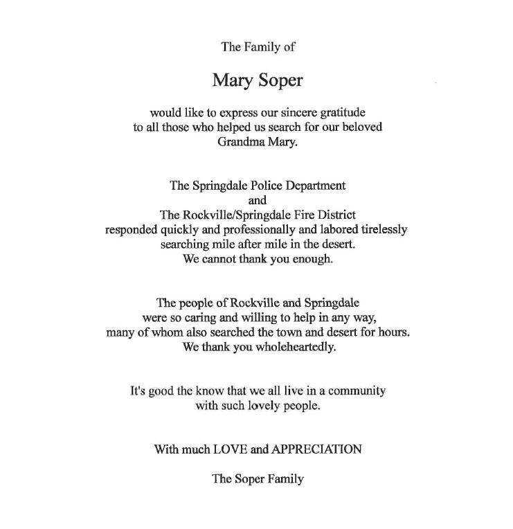 Letter courtesy of Town of Springdale