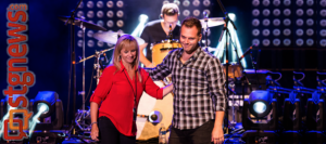 """L - Renée Napier, the woman behind Matthew West's song, """"Forgiveness."""" R- Matthew West. Into the LIght Concert, Cox Stadium, Dixie State University, St. George, Utah, Sept. 28, 2013 