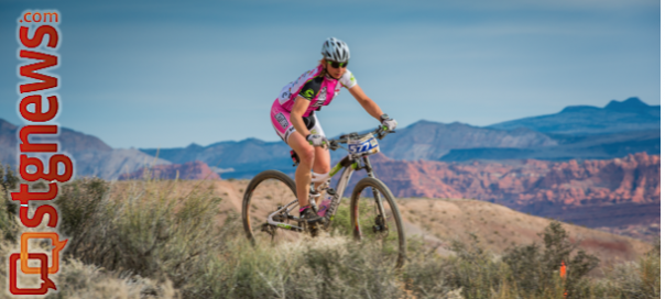 A cyclist participating in the True Grit Epic Mountain Bike Race, a National Ultra Endurance race crossing some 100 miles of dirt in the Tonaquint and Santa Clara public lands region of St. George, Utah, March 16, 2013 | Photo by Dave Amodt, St. George News