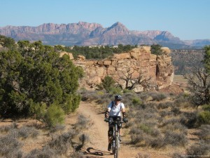 Cyclist on the Gooseberry Mesa trail, Washington County, Utah, date unknown   Photo courtesy of DH Reno @ Flickr.com