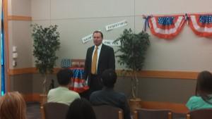Sen. Lee speaking to the Teenage Republicans before the Freedom Forum, St. George, Utah, Sept. 6, 2013 | Photo by Mori Kessler, St. George News