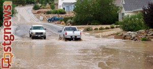 Flooding in the Angell Heights Estates neighborhood, Hurricane, Utah, Sept 11, 2013 | Photo by Dave Amodt, St. George News