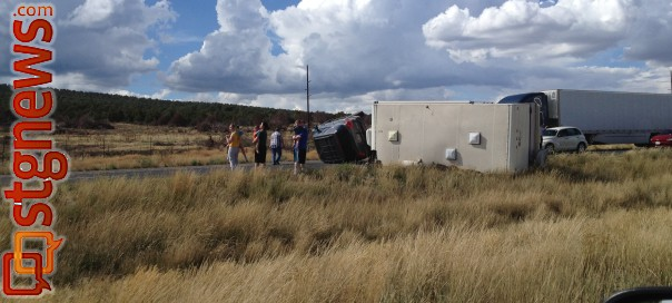 Truck and trailer rollover  on southbound I-15 near New Harmony, Utah, Sept. 1, 2013 | Photo courtesy of Jacob Jessop
