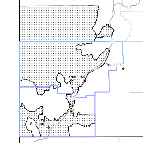 Dots denote area subject to the NWS wind advisory, radar time 10:20 a.m., Southern Utah, Sept. 25, 2013 | Image courtesy of the National Weather Service, St. George News