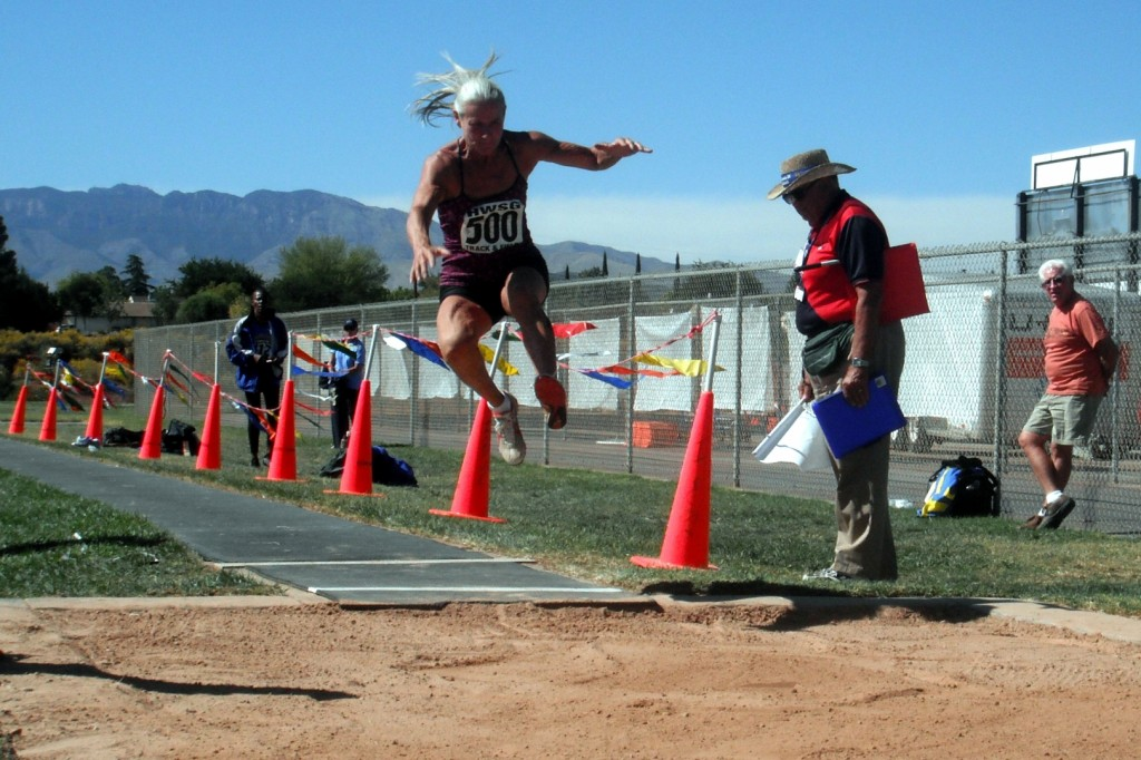 Women's long jump, 2013 Huntsman World Senior Games, St. George, Utah, Oct. 8, 2013 | Photo by Alexa Verdugo Morgan, St. George News