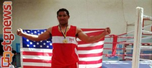 Pano Tiatia represents for Team USA after winning gold at the Victory Day Junior Boxing Tournament, Uman, Ukraine, May 14, 2013   Photo courtesy of Paki Tiatia
