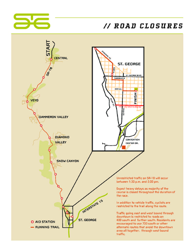 Road closures Map for the St. George Marathon, St. George, Utah, Oct. 5, 2013 | PDF by the City of St. George