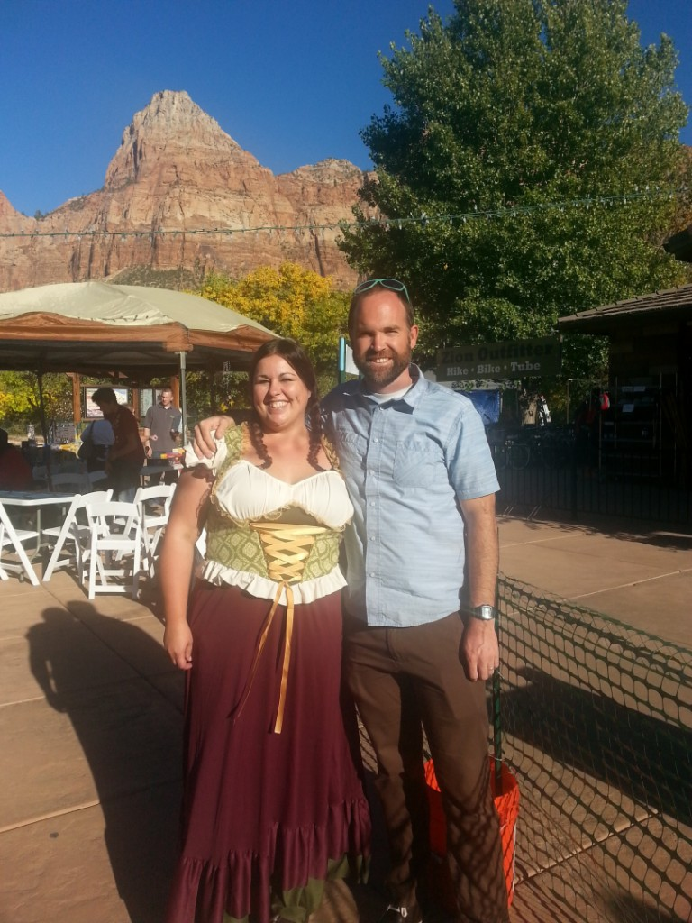 Event coordinators, Syrina Dickinson, Manager of the Zion Canyon Brew Pub and Nate Wells, General Manager of Zion Canyon Village at Rocktoberfest in Springdale, UT, Oct. 26, 2013. | Photo by Drew Allred, St. George News
