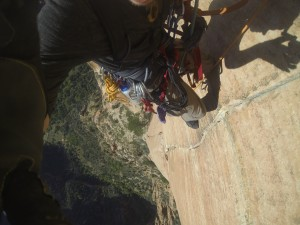 Dan Kikkert, 1500 feet up, climbing during Zion National Park closure, Springdale, Utah, Oct. 2, 2013. Courtesy of Dan Kikkert.