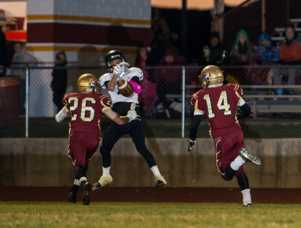 A Pine View receiver can't quite make the grab Friday night, Pine View at Cedar, Cedar City, Utah, Oct. 4, 2013 | Photo by Dave Amodt, St. George News