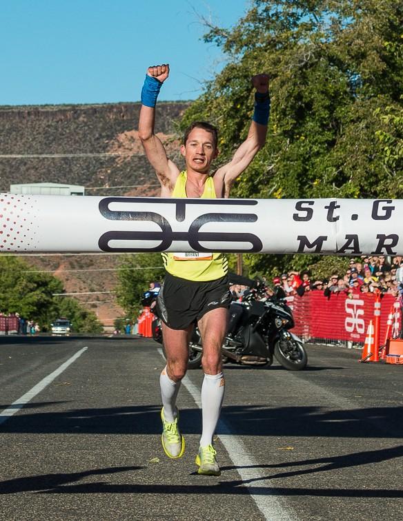Men's winner and record-setter Bryant Jensen. The St. George Marathon, St. George, Utah, Oct. 5, 2013 | Photo by Dave Amodt, St. George News