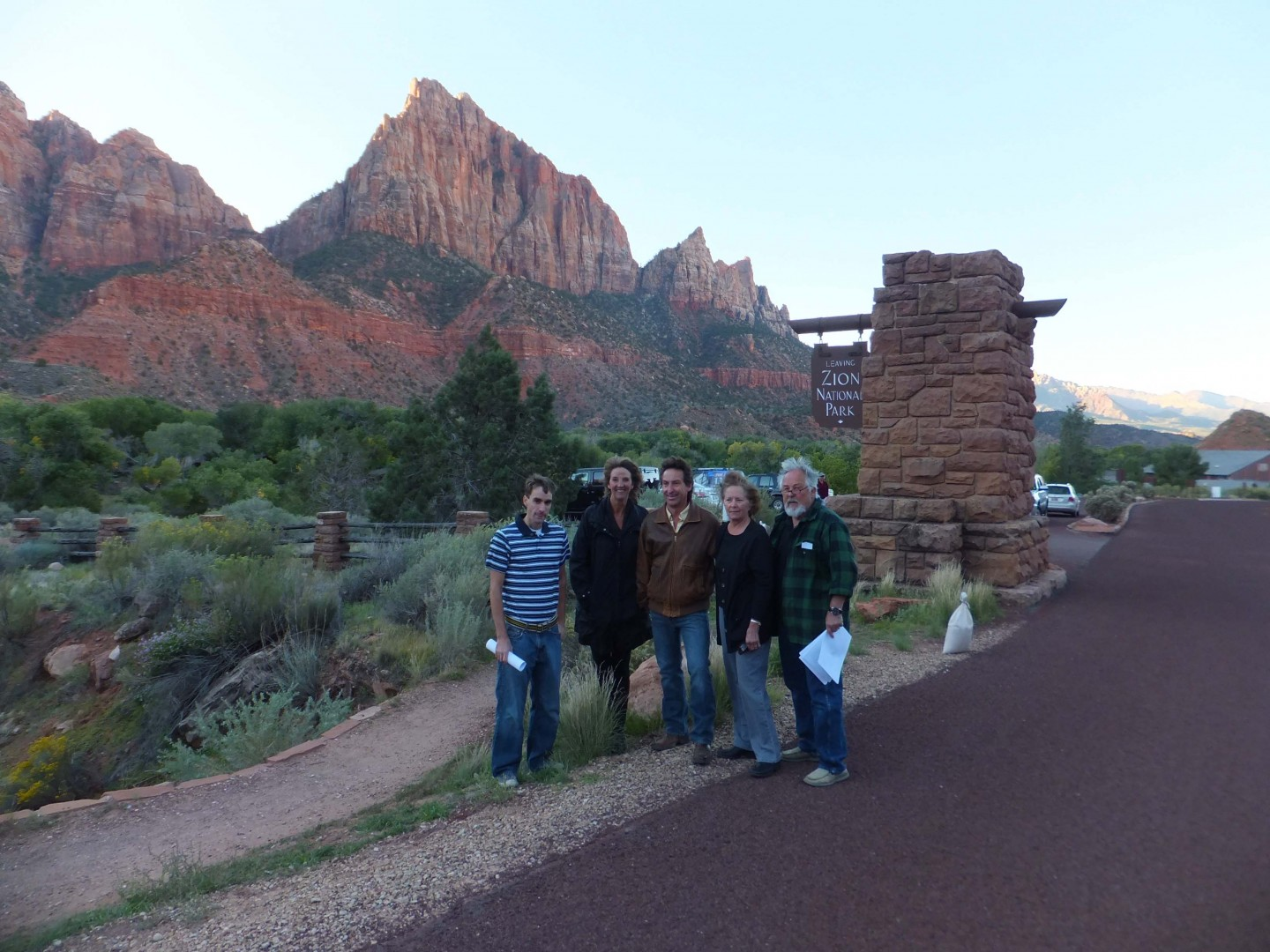 L-R: Tom Dansie, Springdale Director of Commuity Development; Kathy LaFave, Springdale Town Councilwoman; Mark Chambers, Springdale Town Council and mayoral candidate; Louise Excell, Springdale Town Councilwoman; and Larry McKown, Springdale business owner; all standing at the gateway to the recently closed Zion National Park, Springdale, Utah, Oct. 1, 2013 | Photo by Dan Mabbutt, St. George News